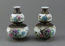 Pair of Chinese Famille Rose Double Gourd Vases