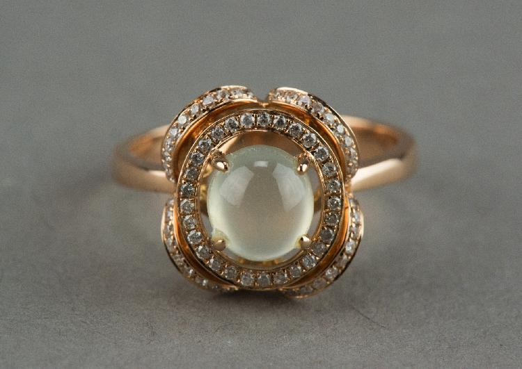 Icy Jadeite 18K Rose Gold Ring w 71 Diamonds Cert