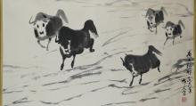 Chinese Ink Painting of Bulls Signed Wu Zuoren