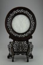 Chinese White Hardstone Screen Rosewood Framed