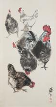Chinese Roosters Painting Signed Huang Zhou