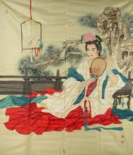 Chinese Lady Painting Wang Mei Fang (1949 -    )