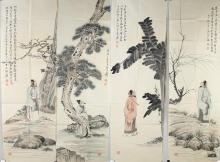 Set 4 Watercolour  Attributed to Zhang Daqian