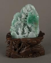 Chinese Apple Green Jadeite Carved Boulder w Stand