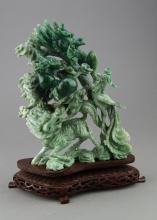 Chinese Burma Jadeite Green Boulder on Wood Stand