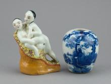 2 Pcs of Chinese Porcelains: Erotic Figures & Jar