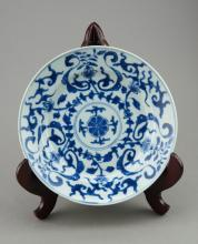 Kanxgxi Period Chinese Blue & White Lotus Plate