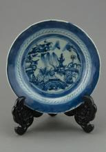 Chinese Blue and White Export Plate Dated 1860