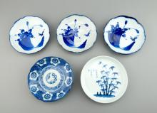 Qing Period 5 Pcs of Chinese Blue & White Plates