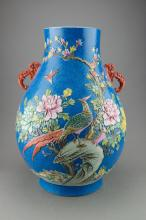 Chinese Blue Ground Famille Rose Hu Vase Qianlong