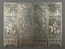 Set of 4 Chinese Silver Screens Carved 8 Immortals