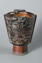 Chinese Horn Carved Chilong Cup