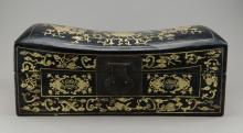 Chinese Gold Painted Black Lacquer Jewellery Box