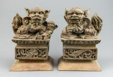 Pair of Chinese Wood Carved Fu Lion Statue