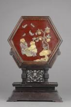 Wooden Lacquer Hexagonal Screen with Stone Inlaid
