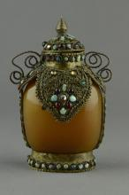 Tibetan Agate & Silver Mounted Stones Snuff Bottle