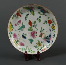 Chinese 19th C. Daoguang Butterfly Plate