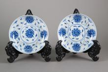 Pair of Guangxu Mark & Period Blue & White Plates