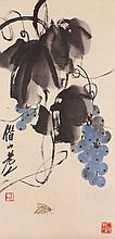 Chinese WC Grape & Insects Qi Baishi 1864-1957