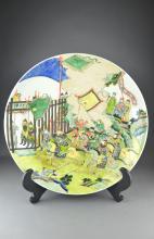 Large Chinese Enameled Porcelain Charger Kangxi
