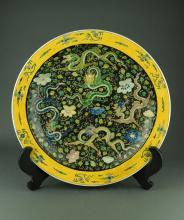 Large Famille Noir Plate Painted Dragon Kangxi Mk