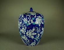 Chinese Blue Ground Porcelain Jar w/ Cover