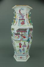 Chinese Porcelain Hexagon Vase 8 Stories