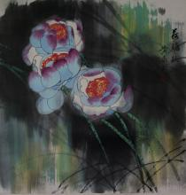 Chinese Watercolour Lotus w/ Boy Huang Yong Yu