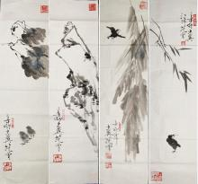 Set of Four Paintings of Birds Style of Fan Zeng