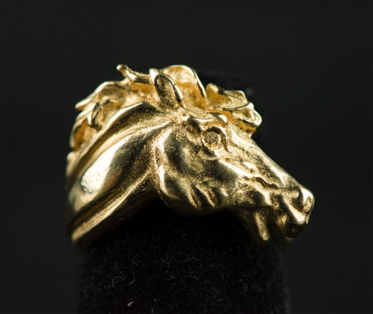Charming 14K Gold Ring with Horse Head