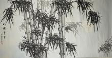 Chinese Watercolour Painting Scroll Bamboo Li Yue