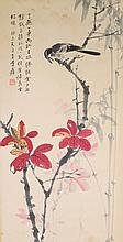 Chinese Watercolour Painting Bird & Flowers Scroll