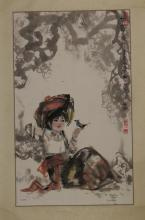 Painting of Young Tibetan Girl Signed Meng Chun