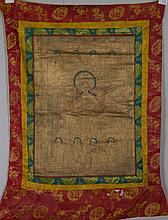 17/18th Century Chinese Tibet Tanka on Silk