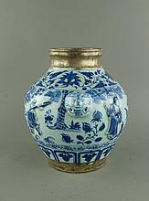 Yuan/Ming Silvered Blue & White Porcelain Jar