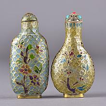 Set of Two Chinese Inlaid Wire Glass Snuff Bottle