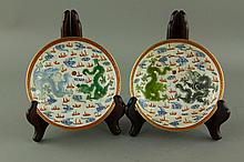 Pair of Chinese Painted Dragon Porcelain Saucers