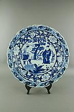 Yuan/Ming Style Blue and White Porcelain Charger