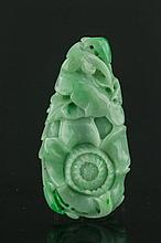 Chinese Green Jade Carved Flower Pendant