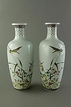 Pair Republic Porcelain Vases Xiong Mengting Mark