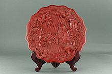 Chinese Lacquer Old Man w Children Plate Kangxi Mk