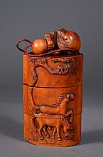Chinese Wood Carved Inro Horses