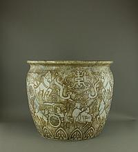 Qing Period Han Style Large Jade Carved Fish Jar