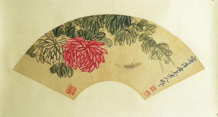 Chinese Peonies Style Of Qi Baishi Painting