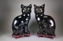 Pair of Chinese Pottery Cats Deco