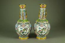Pair Gilt Chinese Porcelain Vases Yongzheng Mark
