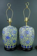 Pair of Chinese Porcelain Jar Converted Lamps