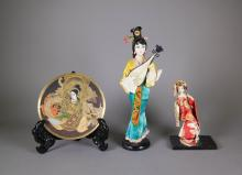 3 Pieces Japanese Gold Gilt Plate and 2 Dolls