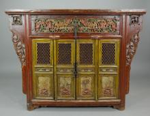 Northern Tibet Carved Red and Green Altar Cabinet