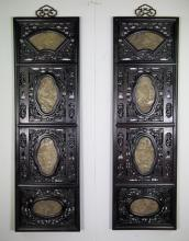 2 Pieces of Chinese Wood Screen w/ Jade Insets